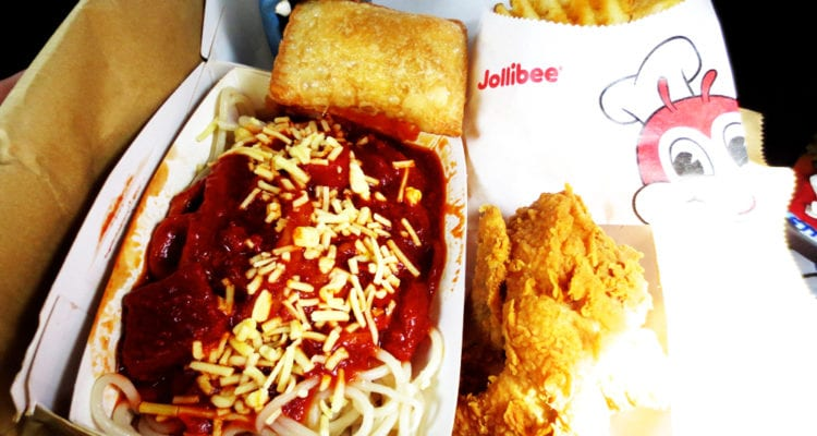 Chickenjoy w/ Spaghetti from Jollibee Philippines