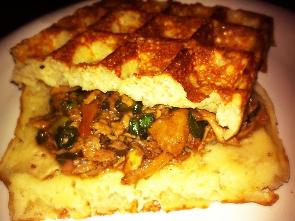 Hoising Duck Waffle Sandwich from WickedWaffle