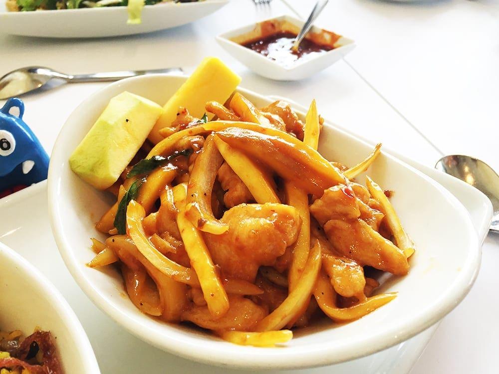 Mango Chicken W Coconut Rice Rangoon Ruby San Carlos