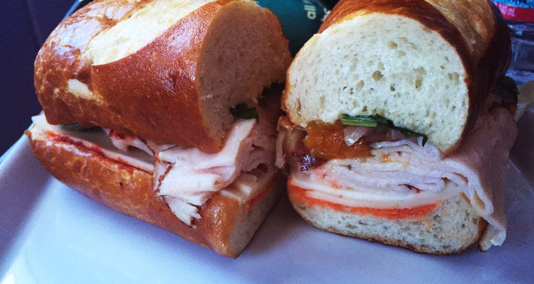 Airline Lunch Turkey Sandwich @ First Class Virgin America