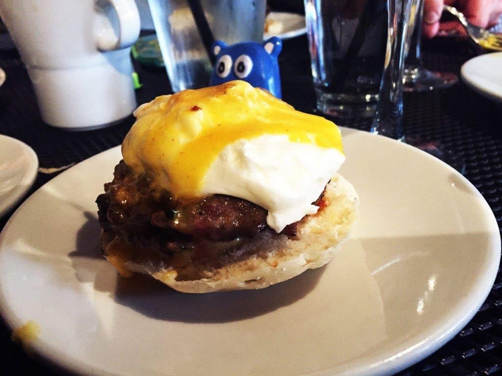 Spicy Lamb Benedict $8 @ Cava Mezze on Capitol Hill in Washington DC