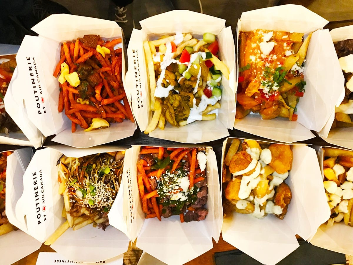 Poutines from Air Canada Poutinerie in Washington DC