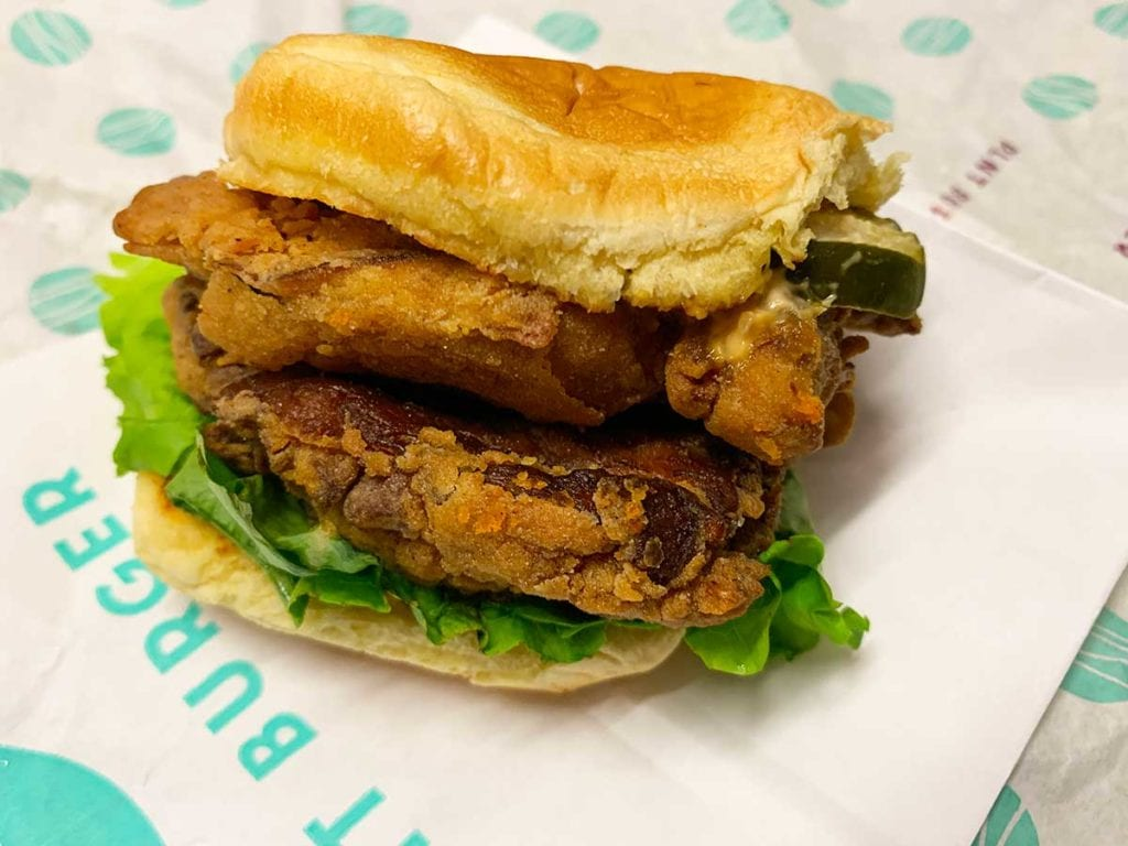 Double Patty Fried Chicken Sandwich from PLNT Burger in Downtown Silver Spring Maryland